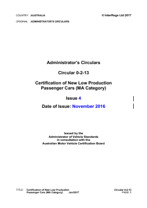 Certification of New Low Production Cars.