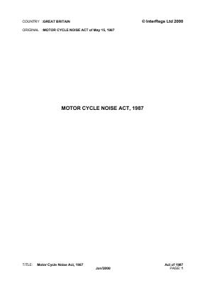 Motorcycle Noise Act 1987.