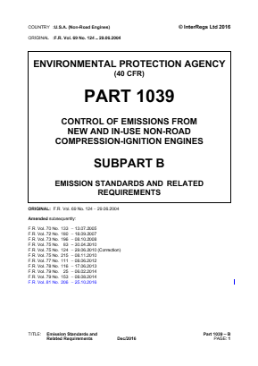 Control of Emissions from New and In-use Non-road Compression-ignition Engines - Emission Standards and Related Requirements.