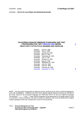 California Exhaust Emission Standards and Test Procedures for 1987 Through 2003 Model Heavy-duty Otto-cycle Engines and Vehicles.