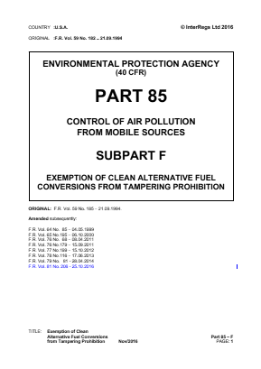 Exemption of Clean Alternative Fuel Conversions from Tampering Prohibition.