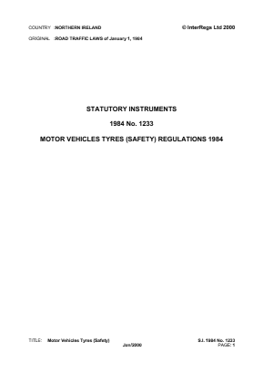 Motor Vehicle Tyres (Safety) Regulations 1984 - Supply of Tyres.