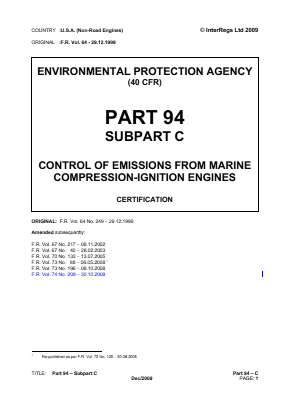 Control of Emissions from Marine Compression-ignition Engines - Certification.
