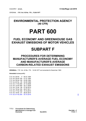 Procedures for Determining Manufacturer's Average Fuel Economy.