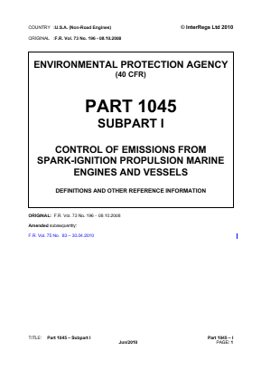 Control of Emissions from Spark-ignition Propulsion Marine Engines and Vessels - Definitions and Other Reference Information.