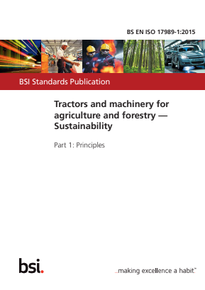 Tractors and Machinery for Agriculture and Forestry - Sustainability - Principles.