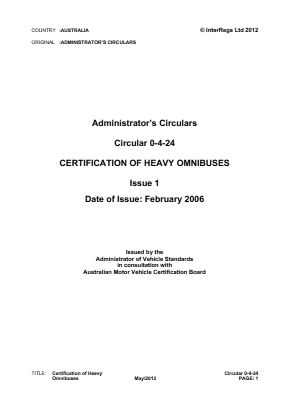 Certification of Heavy Omnibuses.