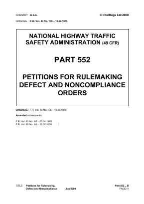 Petitions for Rulemaking, Defect and Noncompliance Orders.