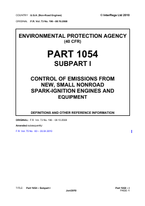 Control of Emissions from New, Small Non-Road Spark-Ignition Engines and Equipment - Definitions and Other Reference Information.