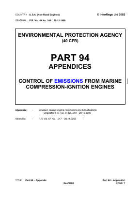 Control of Emissions from Marine Compression-ignition Engines - Appendices.