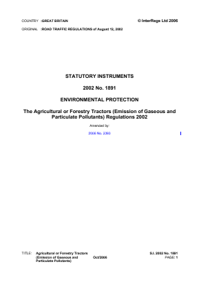 Agricultural or Forestry Tractors (Emissions of Gaseous and Particulate Pollutants) Regulations 2002.