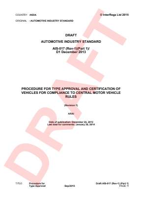 Procedure for Type-approval and Certification of Vehicles - Draft.