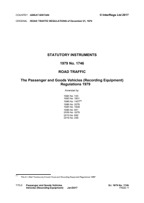 Passenger and Goods Vehicles (Recording Equipment) Regulations 1979 - Reference EC Directives and Regulations.
