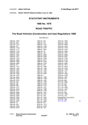 Road Vehicles (Construction and Use) Regulations 1986.
