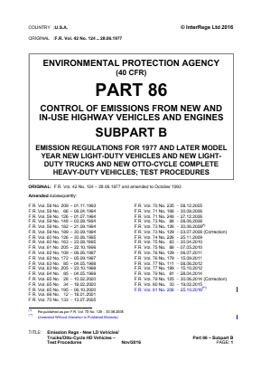 Emission Regulations - New LD Vehicles/Trucks/Otto-cycle HD Vehicles - Test Procedures.