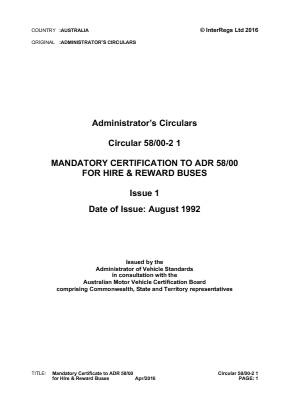 Mandatory Certification to ADR 58/00 for Hire & Reward Buses.