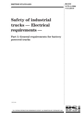 Industrial Trucks - Safety - Electrical Requirements for Battery Powered Trucks.