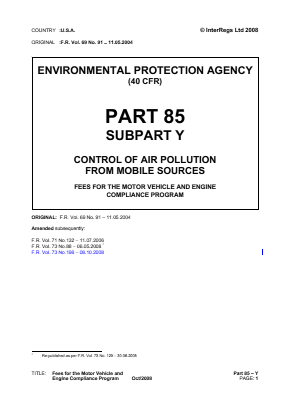 Control of Air Pollution from Mobile Sources - Fees for the Motor Vehicle and Engine Compliance Program.
