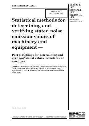 Noise - Acoustics - Statistical Method of Verifying Noise Values - Part 4 : Batches of Machines.