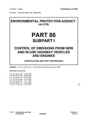 Control of Emissions from New and In-use Highway Vehicles and Engines - Certification and Test Procedures.