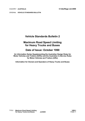 Maximum Road Speed Limiting for Heavy Trucks and Buses.