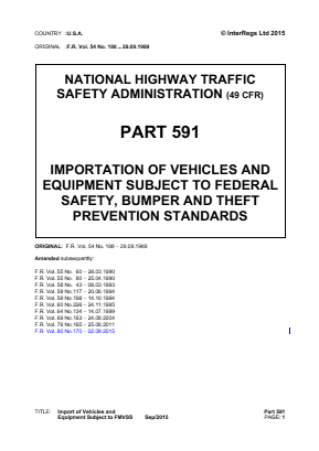 Importation of Vehicles and Equipment Subject to Federal Safety Standards.