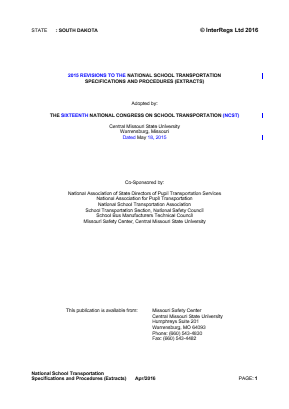 2015 Revisions to the National School Transportation Specifications and Procedures (Extracts).