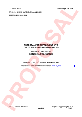 External Projections. Proposed Supplement 3 to the 03 Series.