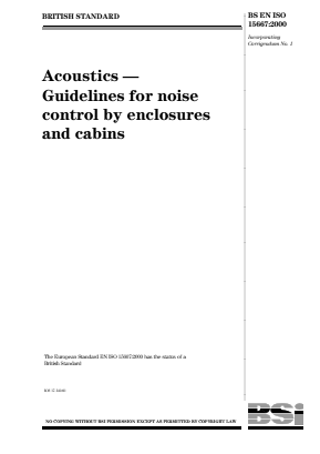 Noise - Acoustics - Guidelines for Noise Control by Enclosures and Cabins.