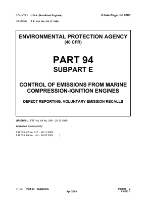 Control of Emissions from Marine Compression-ignition Engines - Defect Reporting, Voluntary Emission Recalls.