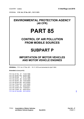 Importation of Motor Vehicles and Engines.