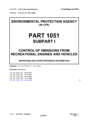 Control of Emissions from Recreational Engines and Vehicles - Definitions and Other Reference Information.