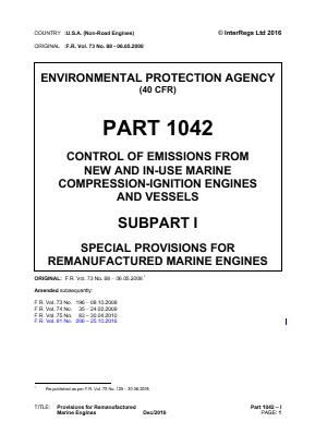 Special Provisions for Remanufactured Marine Engines.