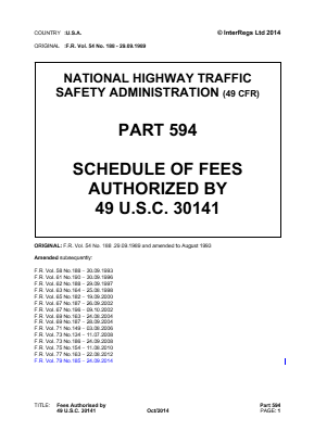 Fees Authorized by 49 USC 30141.