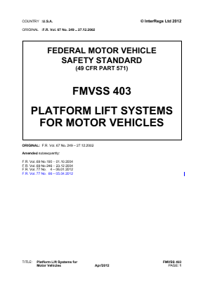 Platform Lift Systems for Motor Vehicles.