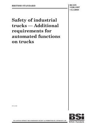 Industrial Trucks - Safety - Automated Functions.