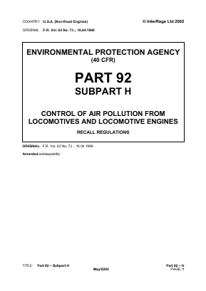 Control of Air Pollution from Locomotives and Locomotive Engines - Recall Regulations.