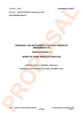 Noise - Three-wheel Vehicles. Proposed Supplement 3 to the 07 Series.