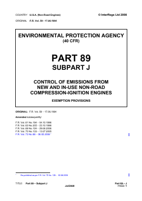 Control of Emissions from New and In-use Non-road Compression-ignition Engines - Exemption Provisions.