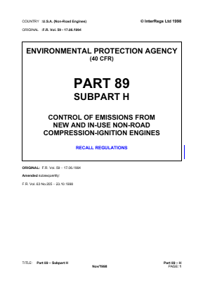 Control of Emissions from New and In-use Non-road Compression-ignition Engines - Recall Regulations.