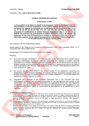 Position on Proposed Modifications to UN Regulations.
