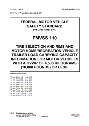 Tire Selection and Rims and Motor Home/Recreation Vehicle Trailer Load Carrying Capacity Information for Motor Vehicles with a GVWR of 4,536kg (10,000lb) or Less.