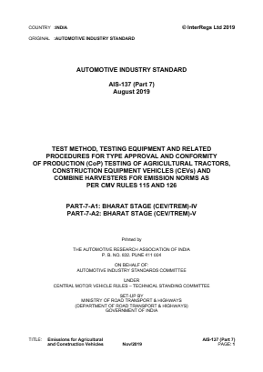 Test Method and Type Approval and CoP for Agricultural Tractors, CEV's, and Combine Harvesters for Emission Norms.