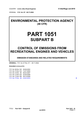 Control of Emissions from Recreational Engines and Vehicles - Emission Standards and Related Requirements.