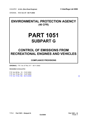 Control of Emissions from Recreational Engines and Vehicles - Compliance Provisions.