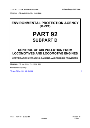 Control of Air Pollution from Locomotives and Locomotive Engines - Certification Averaging, Banking, and Trading Provisions.