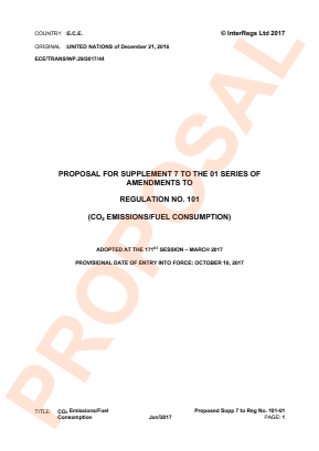 Emission of Carbon Dioxide and Fuel Consumption. Proposed Supplement 7 to the 01 Series.