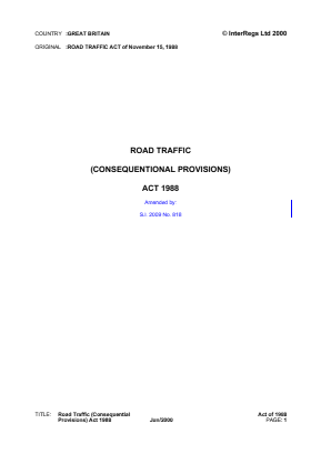 Road Traffic (Consequential Provisions) Act 1988.