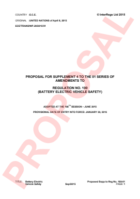 Approval of Vehicles with Electric Power Train. Proposed Supplement 4 to the 01 Series.