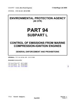 Control of Emissions from Marine Compression-ignition Engines - General Enforcement and Prohibitions.